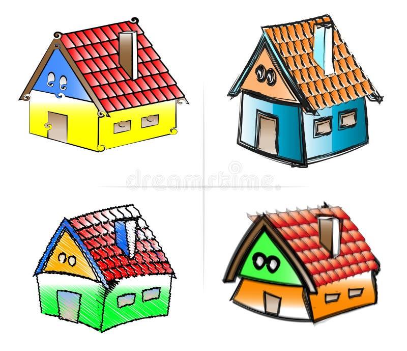 Vier Häuser In Den Verschiedenen Farben Stock Abbildung ...