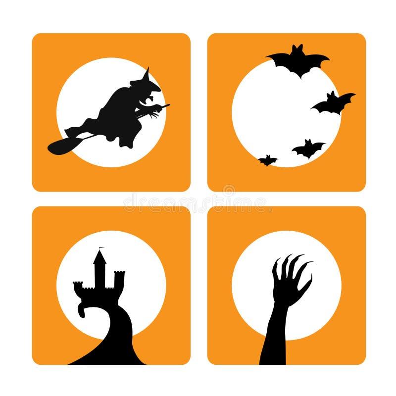 Vier Halloween-Hintergründe lizenzfreie abbildung