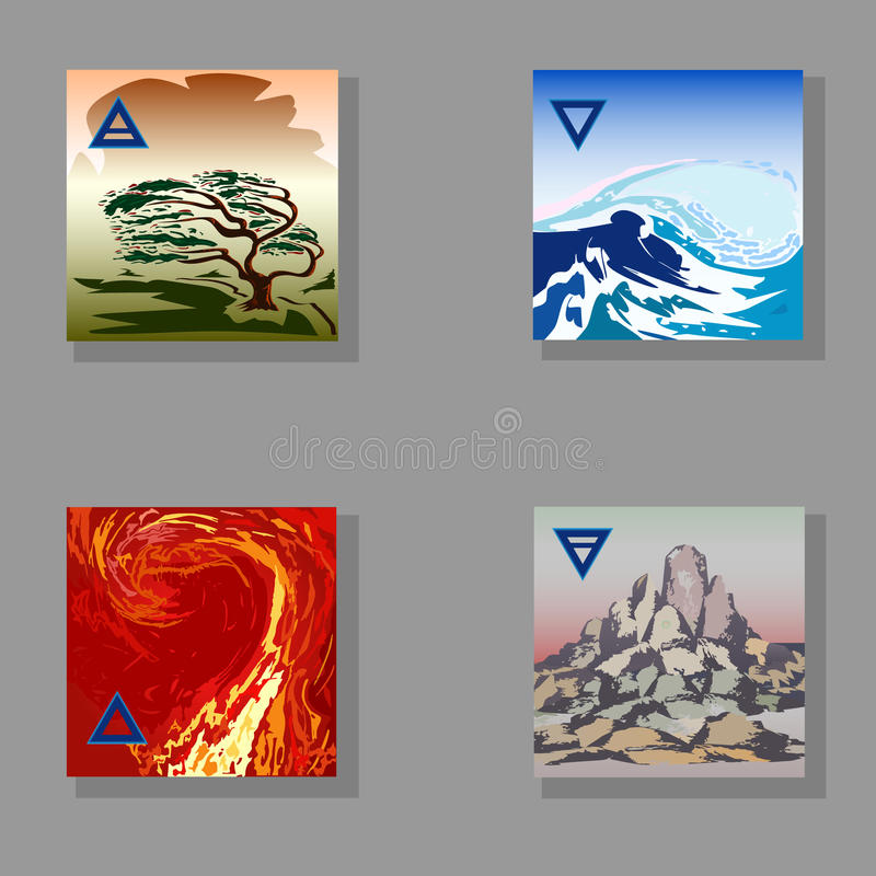 Vier hand-trekt elementen (Brand, Water, Aarde, Lucht) royalty-vrije stock foto's