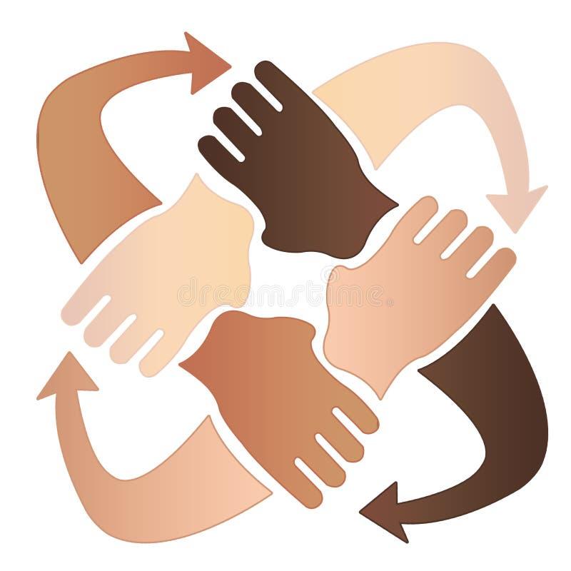 Vier handen samen stock afbeeldingen