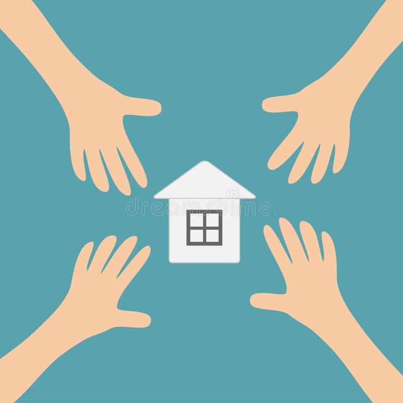 Vier Handenwapens die aan document het tekensymbool van het huishuis bereiken Het nemen van hand Sluit omhoog lichaamsdeel Financ stock illustratie