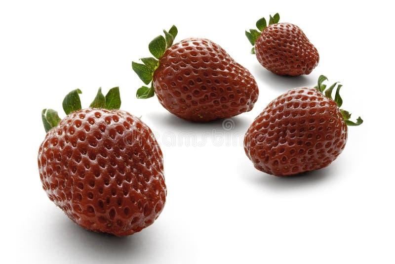 Vier heldere rode aardbeien op een witte achtergrond stock foto's