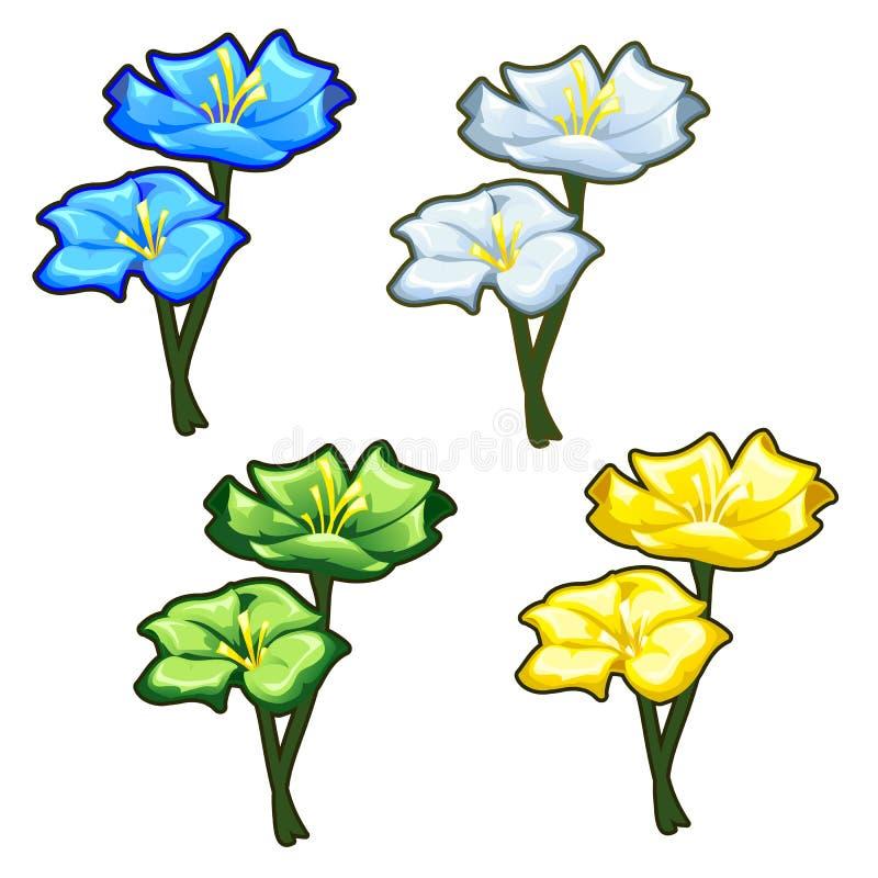 Vier helle gelbe, blaue, grüne und helle Blumen stock abbildung