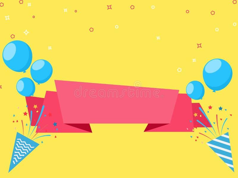 Vier het feestelijke ontwerp van de vakantiepartij met ballonsconfettien, lint en partijdocument popcornpanachtergrond vector illustratie