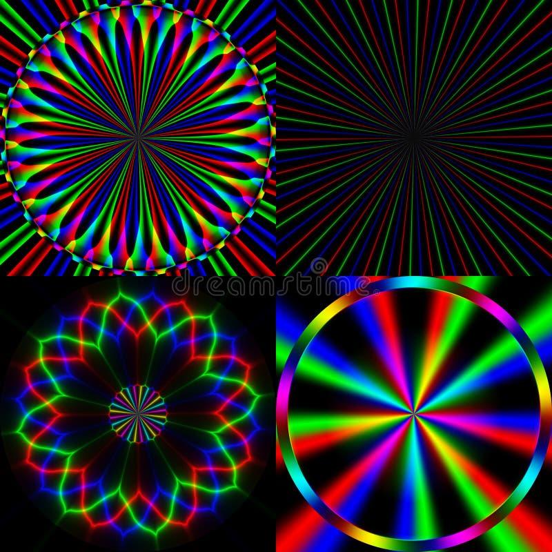Vier het heldere patroon van de regenboogemissie vector illustratie