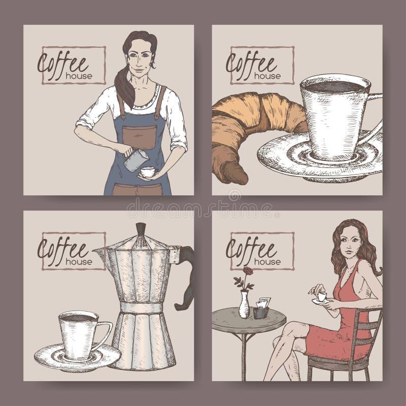 Vier het huisetiketten van de kleurenkoffie met barista, koffiekop, vector illustratie