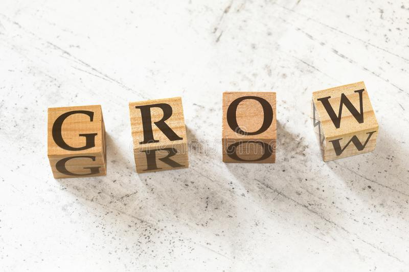 Vier Holzwürfel mit dem Wort GROW auf weißem Arbeitsbrett lizenzfreies stockfoto