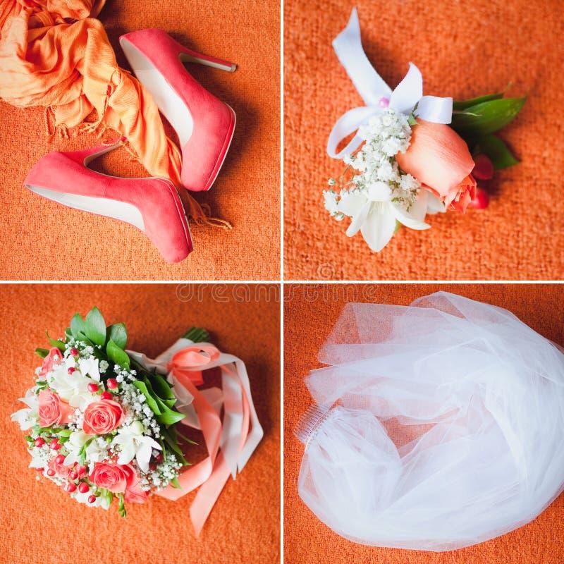 Vier huwelijksvoorwerpen stock foto