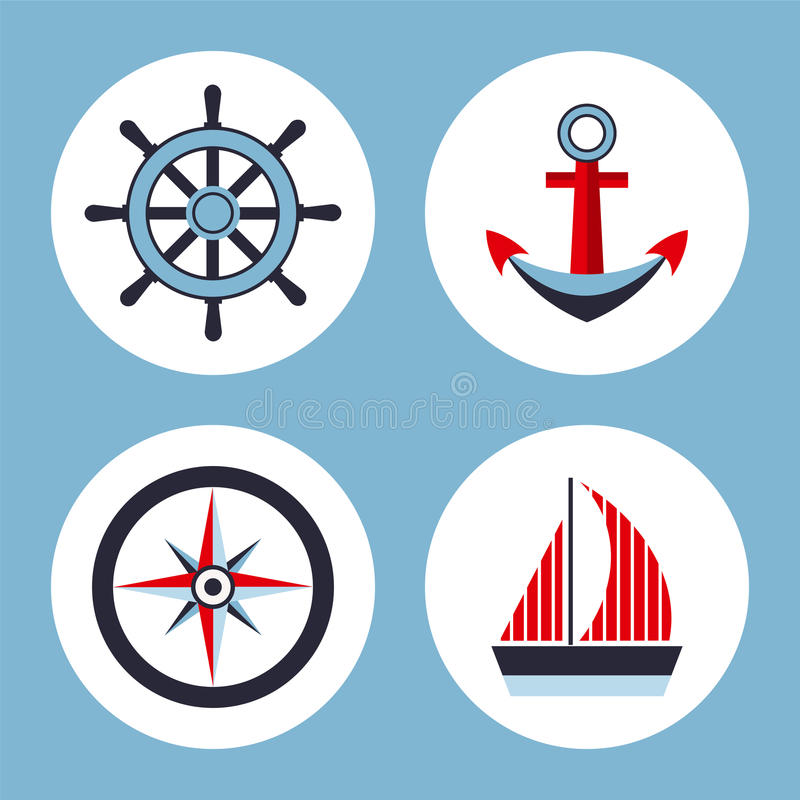 Vier Ikonen auf dem Marinethema stock abbildung