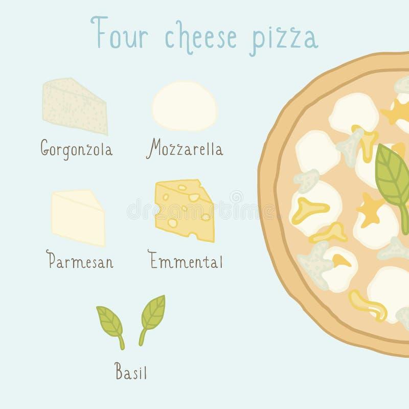 Vier ingrediënten van de kaaspizza vector illustratie
