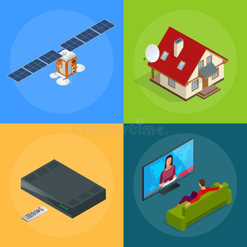 Vier isometrische Webconcepten een huis met een antenne, satelliet, een TV-tuner, een mens het letten op televisie draadloos royalty-vrije illustratie
