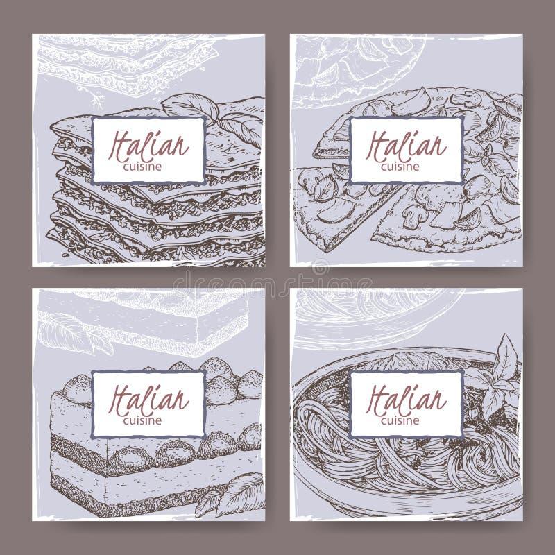 Vier Italiaanse keukenbanners met pizza, lasagna's, tiramisu, spaghetti royalty-vrije illustratie