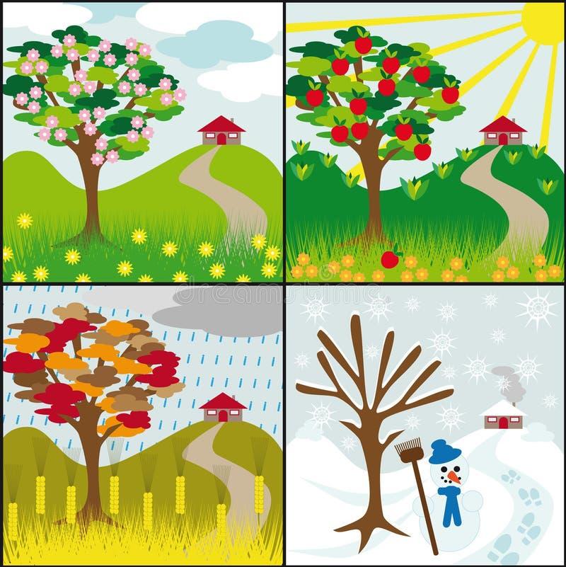 Download Vier Jahreszeiten Auf Einem Hügel Vektor Abbildung - Illustration von fall, blüte: 9095121