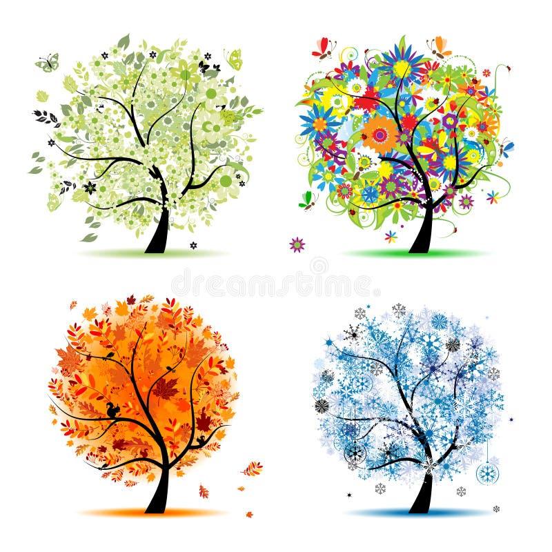 Vier Jahreszeiten - Frühling, Sommer, Herbst, Winterbaum lizenzfreie abbildung