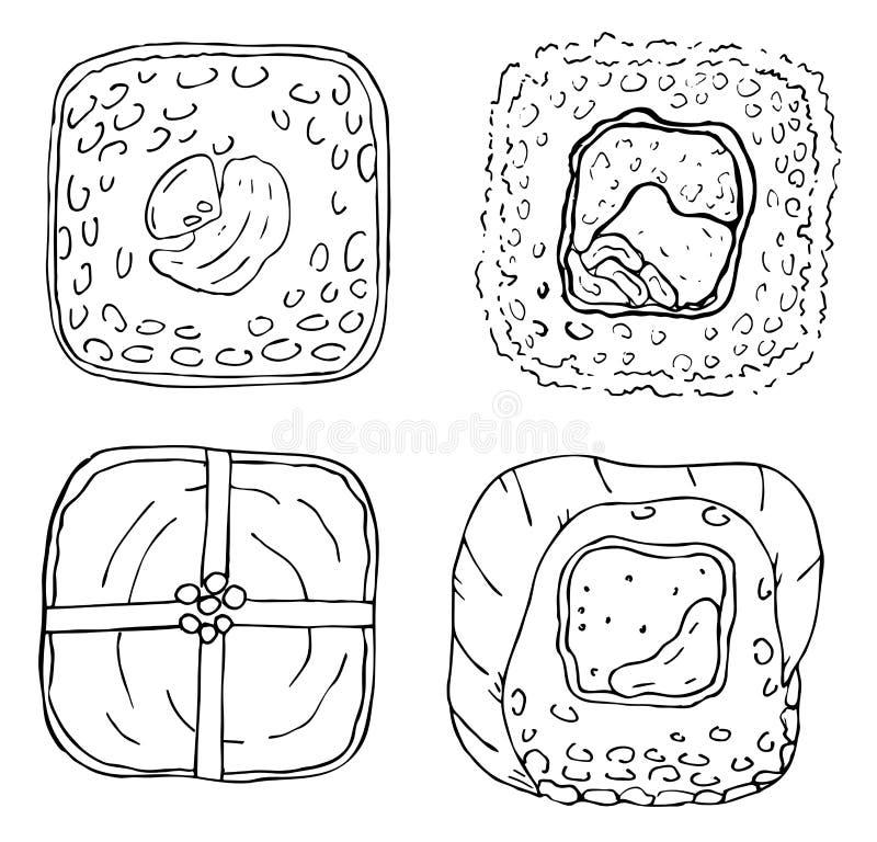 Vier Japanse Sushibroodjes royalty-vrije illustratie