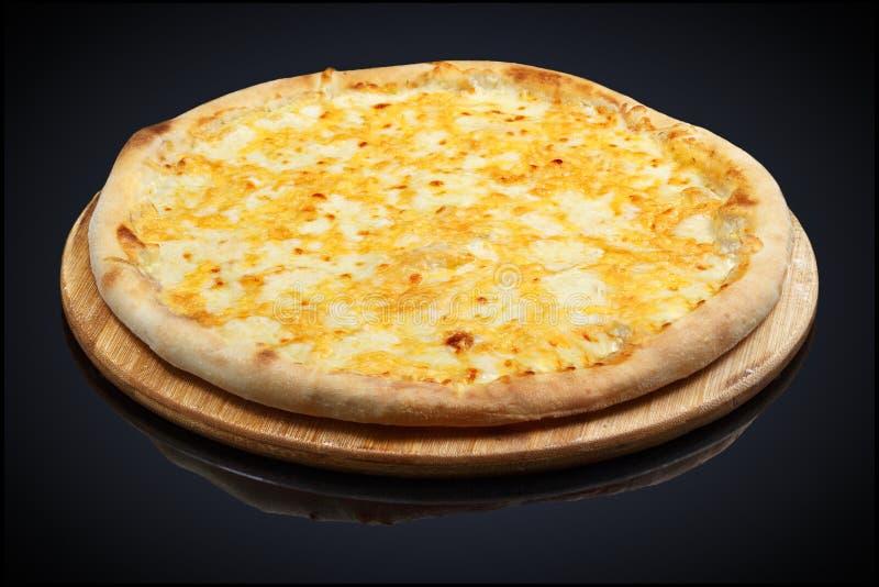 Vier Kaaspizza, mozarella, cheddar, room royalty-vrije stock foto's