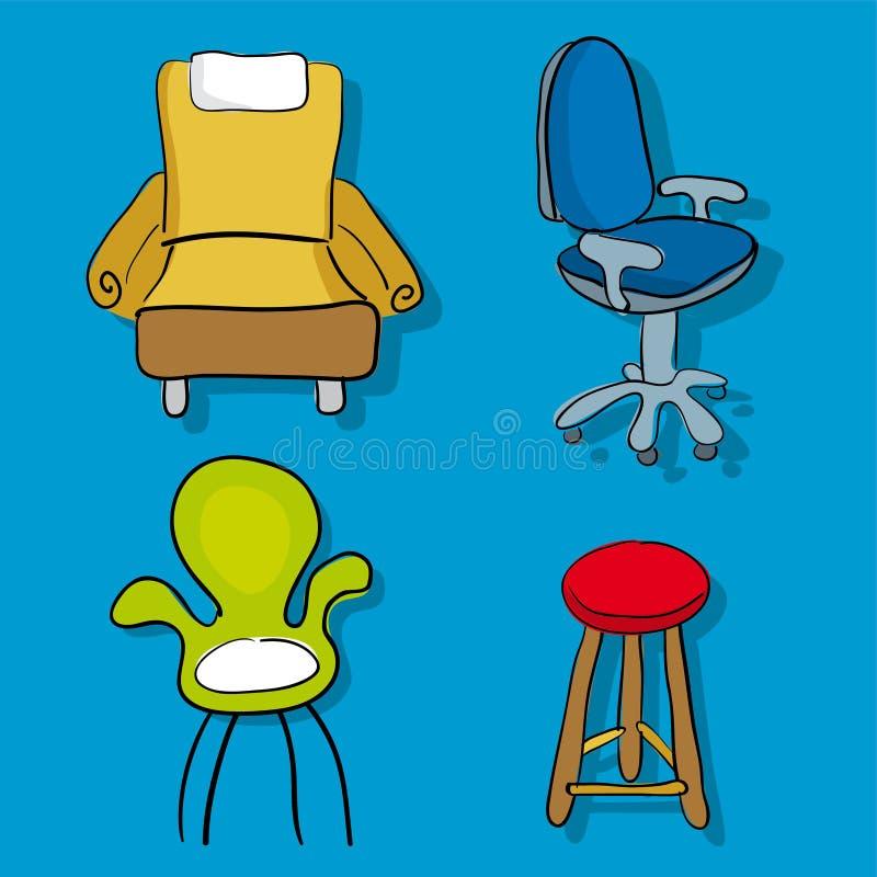 Vier Karikaturstühle und -sofa in der Karikaturart lizenzfreie abbildung