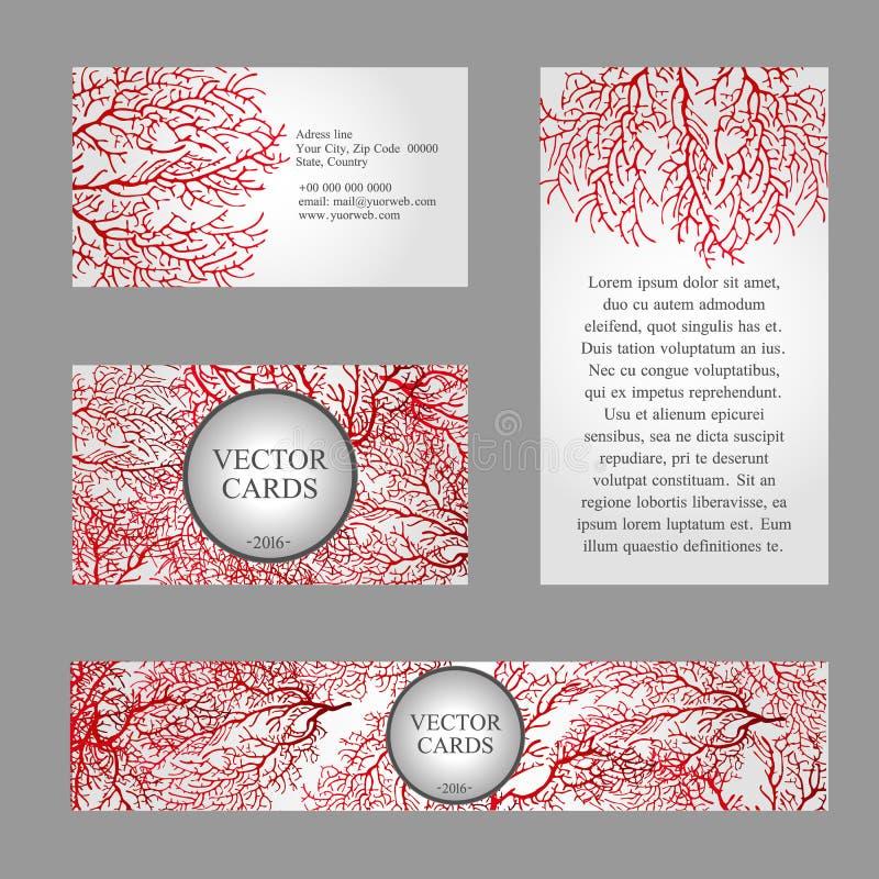 Vier Karten mit der Beschaffenheit der roten Koralle und vektor abbildung