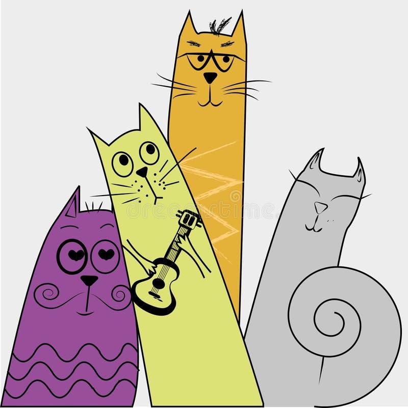 Vier katten van de muziekstraat stock illustratie