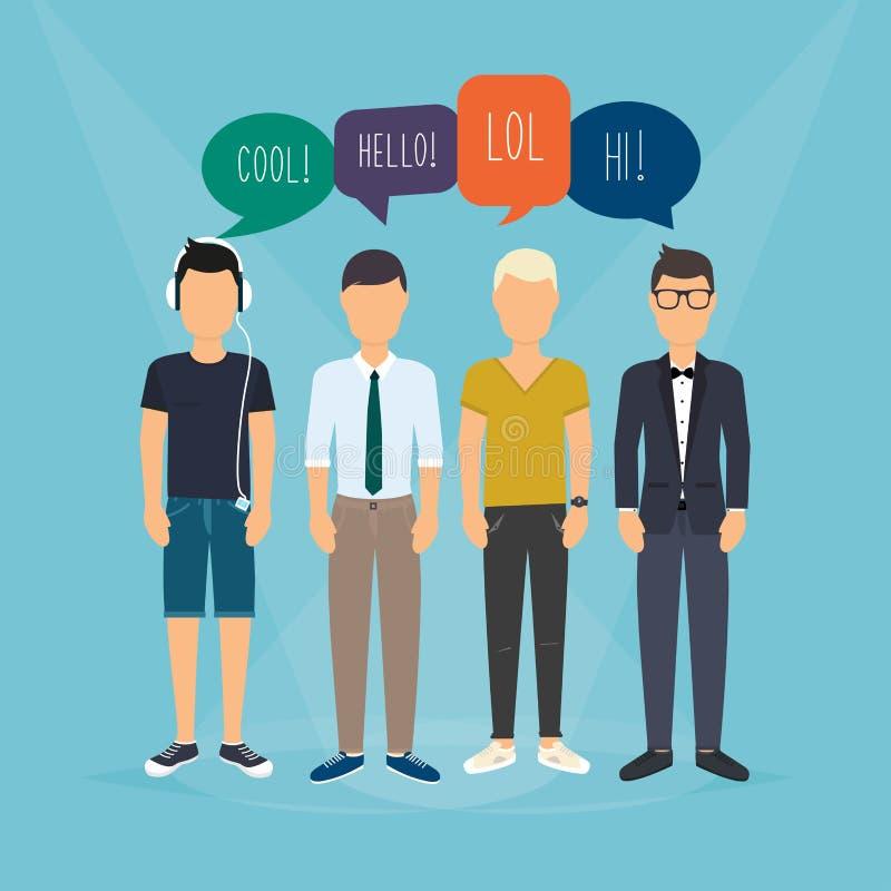 Vier kerels communiceren Toespraakbellen met Sociale Media Woorden vector illustratie