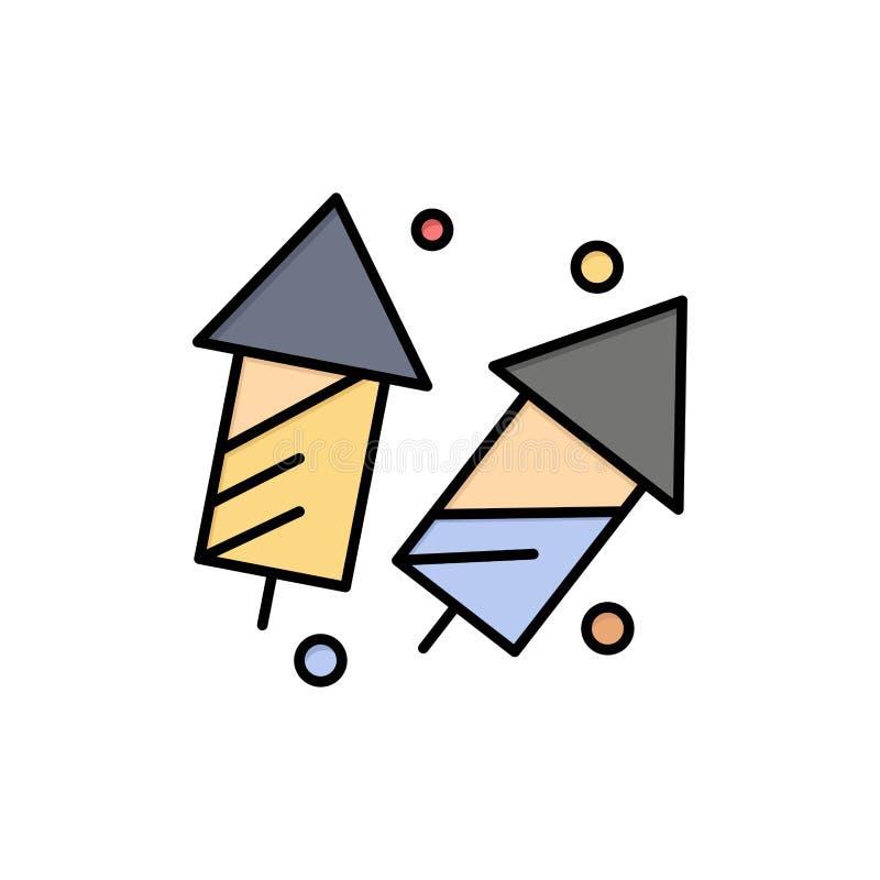 Vier, Kerstmis, Crackers, Diwali, Vuurwerk, Pictogram van de Nieuwjaar het Vlakke Kleur Het vectormalplaatje van de pictogrambann stock illustratie