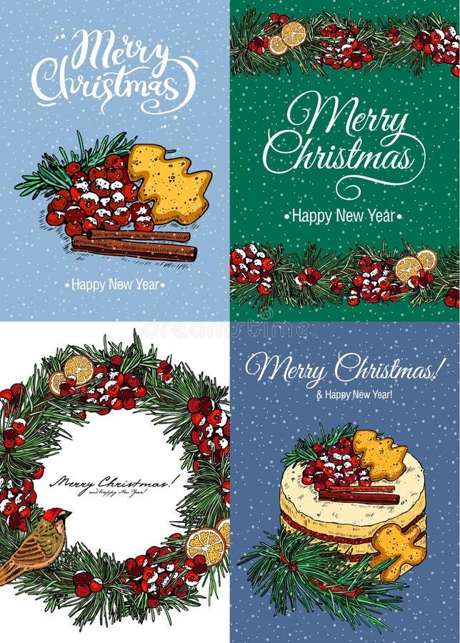 Vier Kerstmis multicolored kaarten met groetkronen, pastei en kalligrafie Vector illustratie vector illustratie