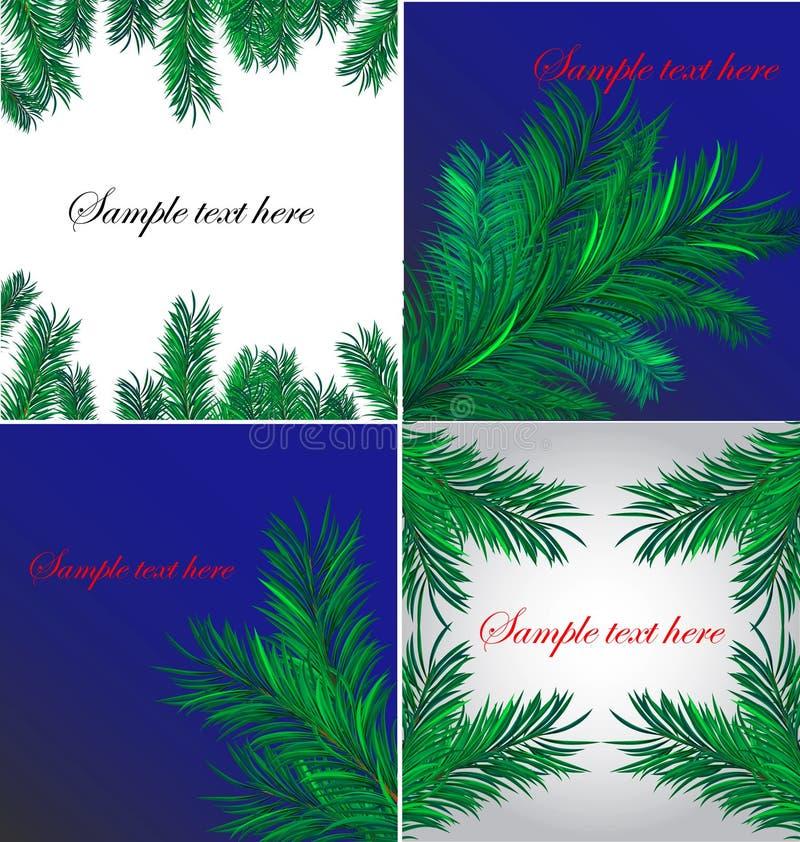 Vier Kerstmisachtergronden vector illustratie