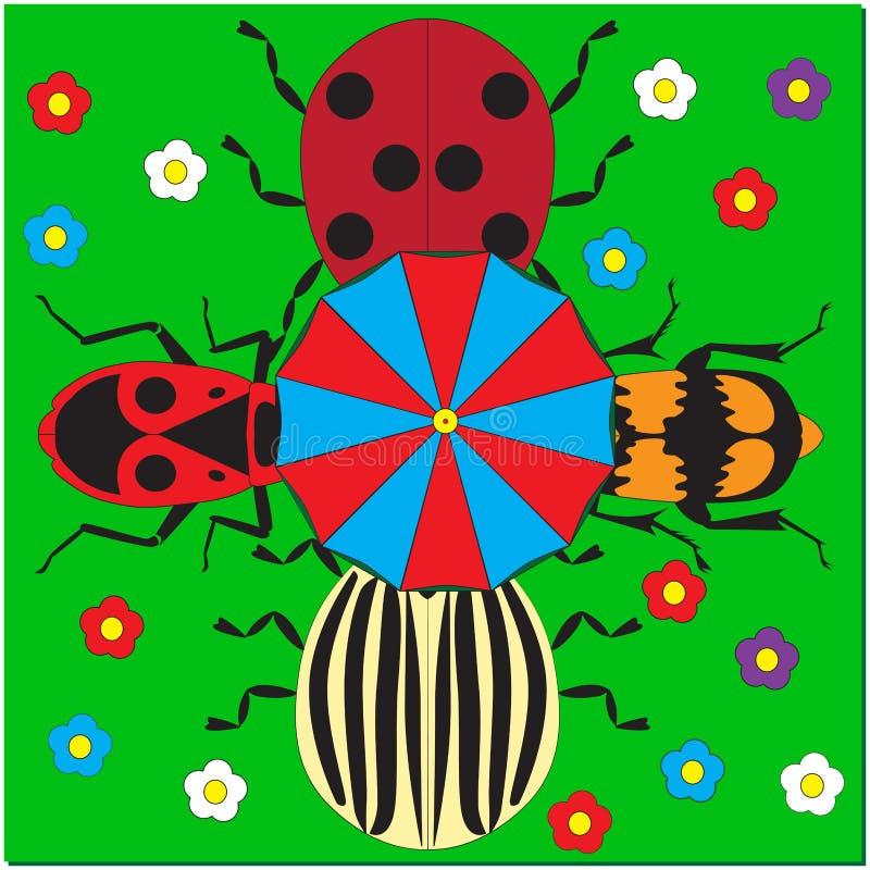 Vier kevers onder een paraplu vector illustratie
