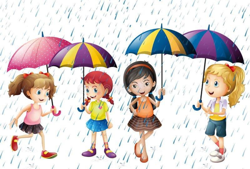 Vier Kinder mit dem Regenschirm, der im Regen ist vektor abbildung