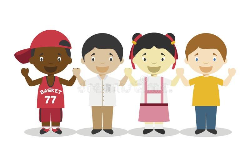 Vier kinderen van verschillende rassen die handen houden en het beeldverhaalkarakters vertegenwoordigen van de Globaliseringsleef vector illustratie
