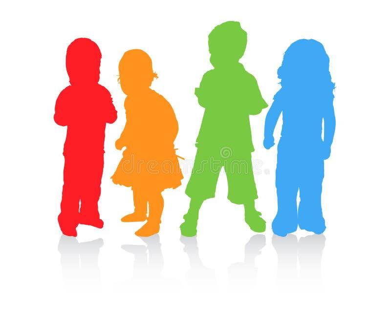 Vier kinderen in verschillende kleur. vector illustratie