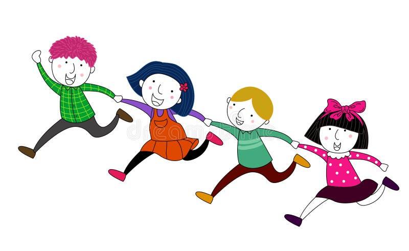 Vier Kinderlaufen vektor abbildung