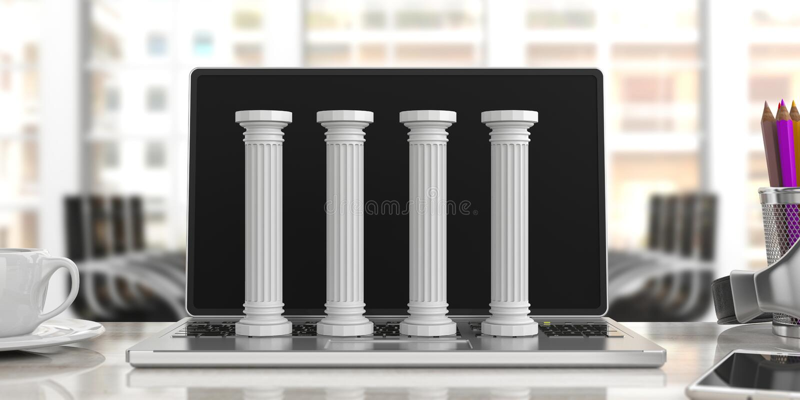 Vier klassieke pijlers op een computer, bureauachtergrond 3D Illustratie stock illustratie