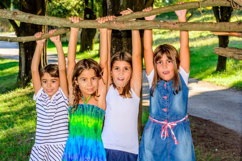 Vier kleine Mädchen, die im Park spielen und am Baum hängen stockfotos