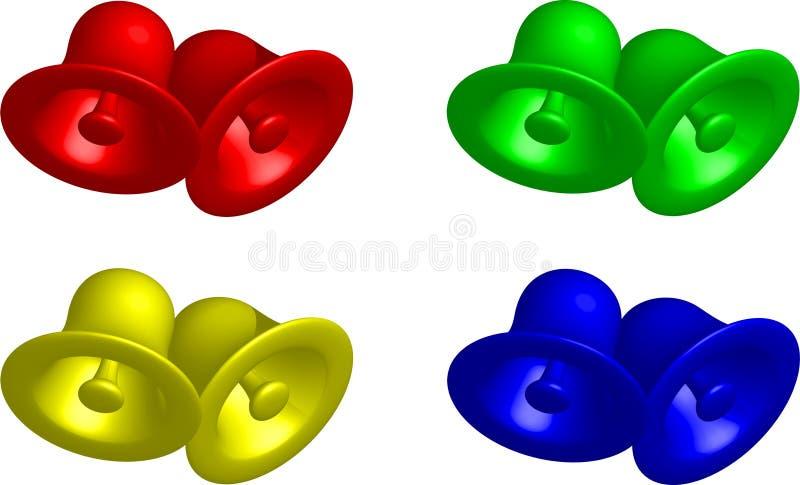Vier kleuren van klokken royalty-vrije stock afbeelding