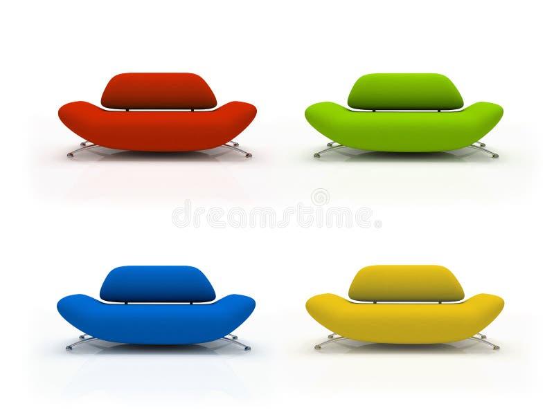 Vier kleurrijke banken die op witte achtergrond worden geïsoleerdt