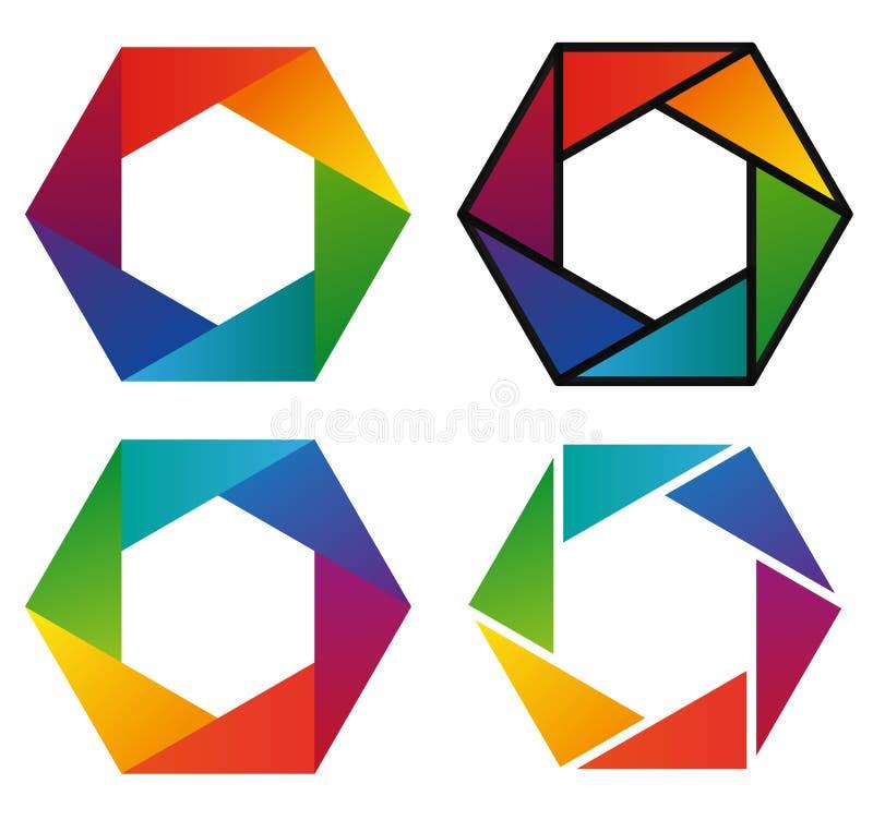 Vier kleurrijke hexagon pictogrammen van de spectrumregenboog royalty-vrije illustratie