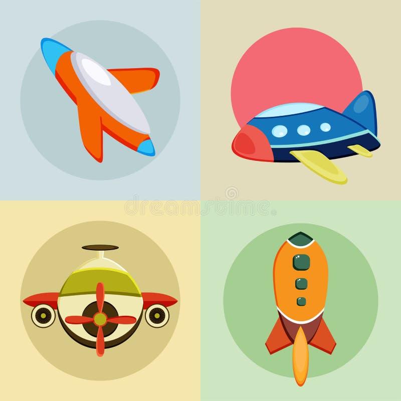 Vier kleurrijke rakettenpictogrammen vector illustratie