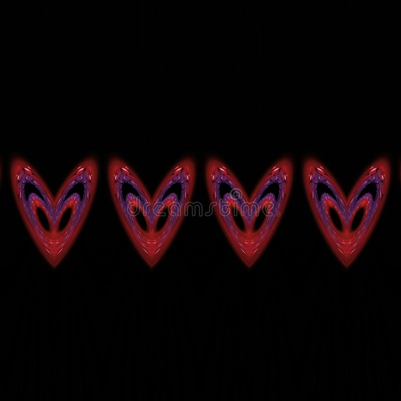 Vier kleurrijke rode blauwe fractal harten op zwarte tegel royalty-vrije illustratie