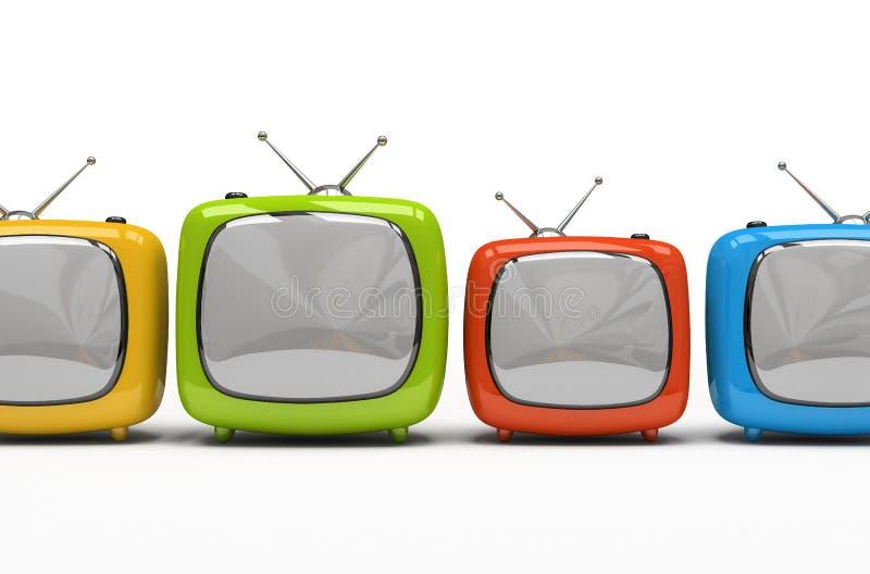Vier kleurrijke televisietoestellen vector illustratie