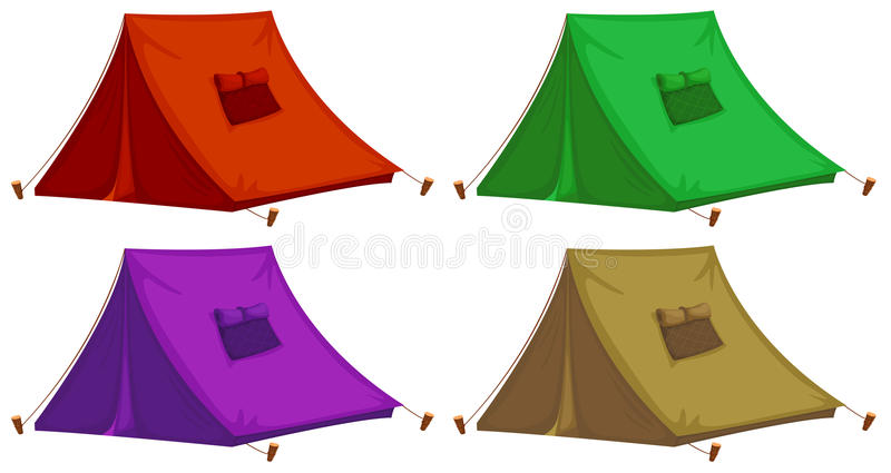 Vier kleurrijke tenten stock illustratie