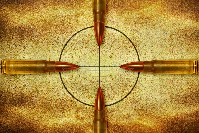 Vier kogels en doel royalty-vrije stock foto