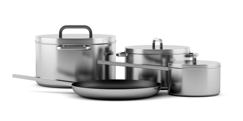 Vier kokende die pannen op wit worden geïsoleerd stock illustratie