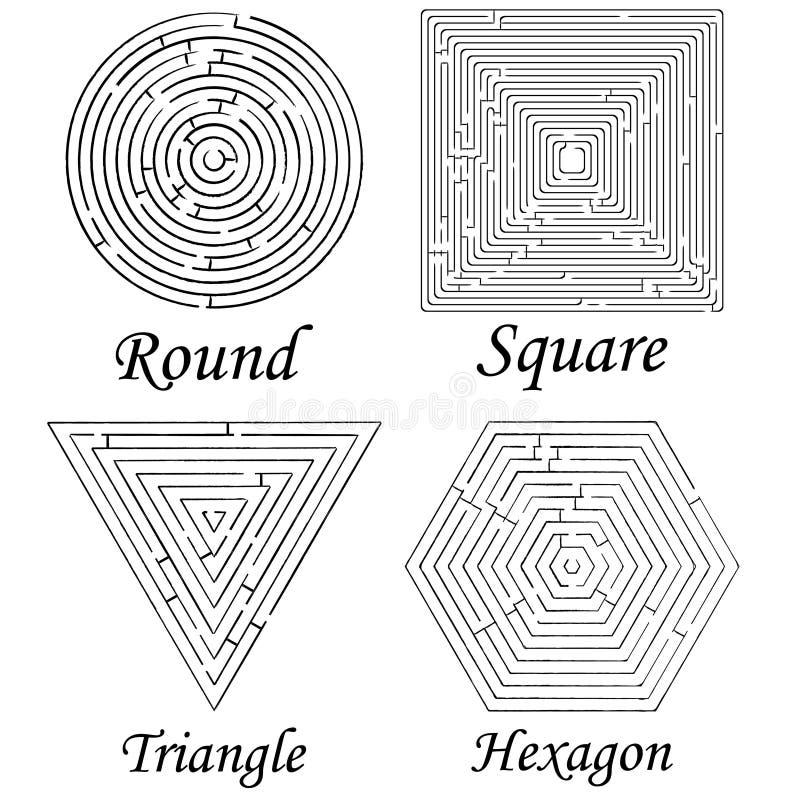 Vier Labyrintenvormen Tegen Wit Stock Fotografie