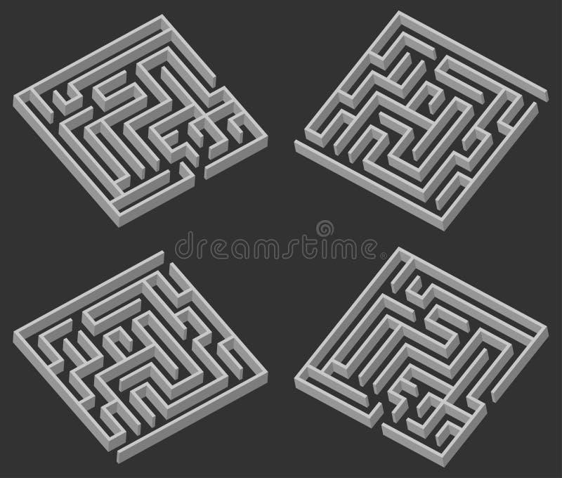 Vier Labyrinth 3d stock abbildung