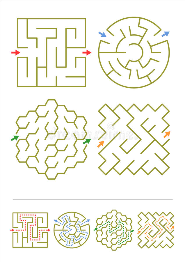 Vier Labyrinthspiele mit Antworten lizenzfreie abbildung