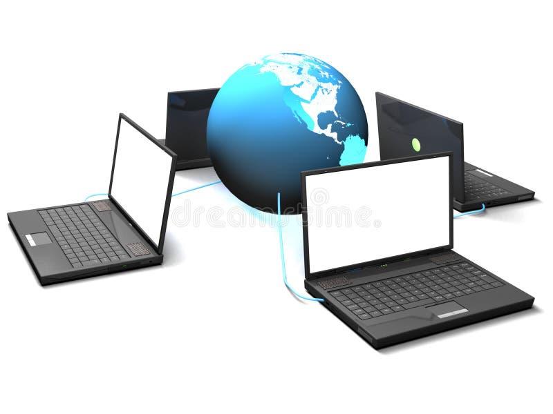 Vier laptops en blauwe wereld vector illustratie