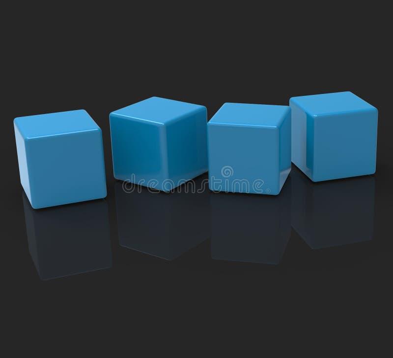 Vier Lege Blokken toont Copyspace voor 4 Brievenword royalty-vrije illustratie