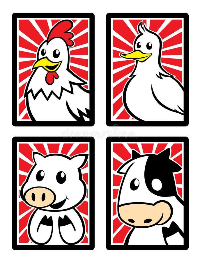 Vier leuke dierlijke karakters in het kader royalty-vrije stock foto
