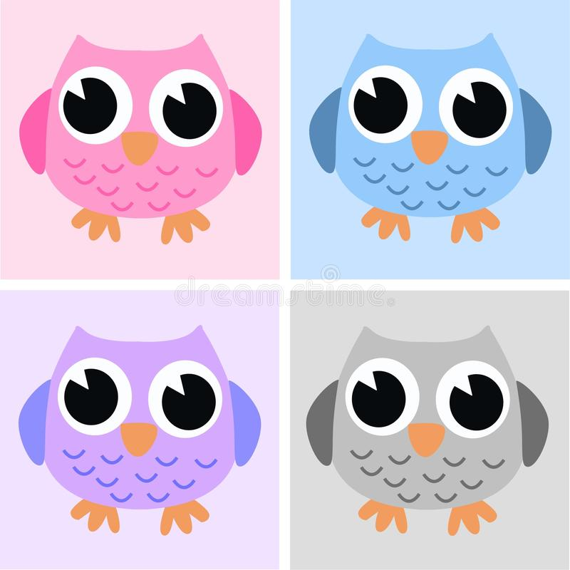 Vier leuke uilen vector illustratie